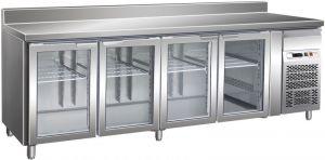 G-GN4200TNG - Tavolo Refrigerato Ventilato Inox 4 porte a Vetro temp. +2/+8 °C