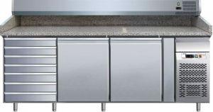 G-PZ2610TN- Mesa refrigerada y mostrador de pizza ventilado en acero AISI304 con 2 puertas