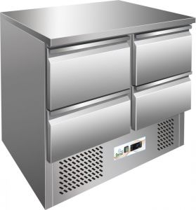 G-S901-4D - Mesa refrigerada para saladette, estructura de acero inoxidable AISI304, cuatro cajones