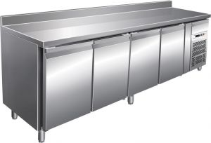 G-SNACK4200TN - Tavolo refrigerato inox ventilato - 4 porte con alzatina