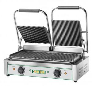 EG03 Double Cast Iron Cooking Plate, 3600W Striped Top